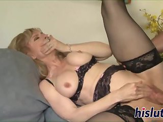 Mature bombshell rides on a stiff dong