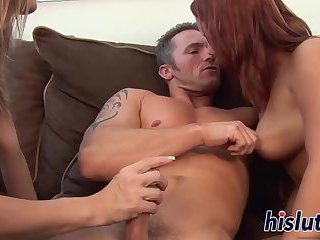 Amazing threesome session with two sexy cuties