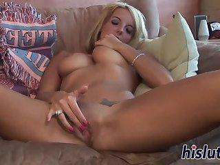 Busty blonde fingers her dripping wet snatch