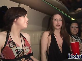 Hot babes have fun in a limo