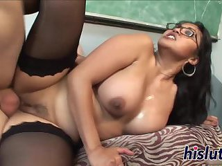 Stunning teacher Mika Tan rides a cock