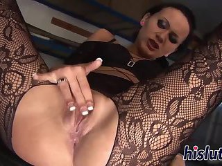 Slender honey in stockings rides a dick