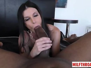 Brunette milf ball licking with cum in mouth