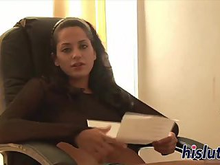 Raunchy babe masturbates in an office chair