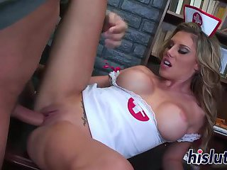 Stacked nurse looker rides a massive shaft