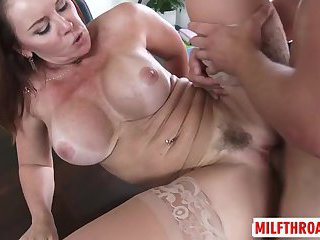Asian milf deepthroat with cum in mouth