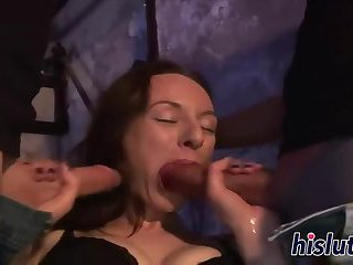 Foxy bitch gets nailed in a threesome