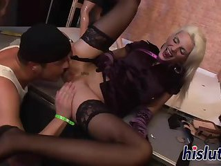 Hardcore orgy session with classy sex bombs
