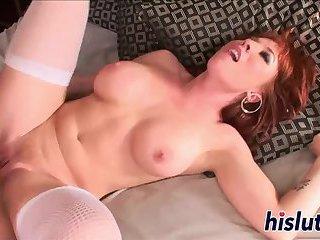 Stunning redhead bombshell rides a big dong