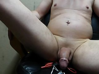Ejac cum no hands with E-Stim tits and ass