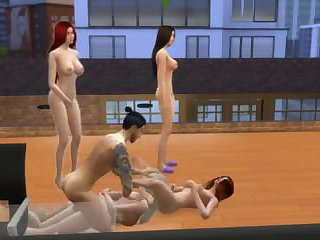 Cartoon orgy with beautiful bisexual babes