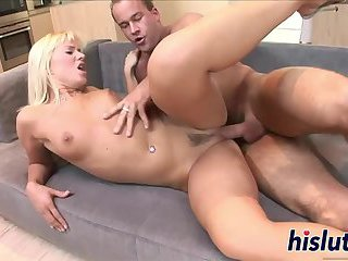 Sexy Cindy rides on a long shaft