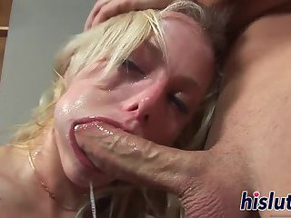 Horny blonde sucks on a long prick