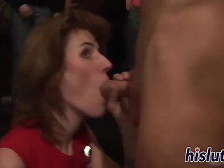 Raunchy babes get nailed in the club