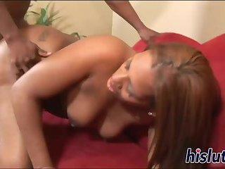 Naughty black slut has her twat hammered