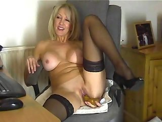 Chantal 47 masturbates live on home webcam