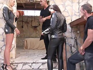Hardcore with leather babes Kristall Rush and Kayla Green