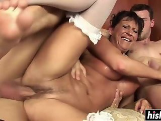 Mandy Bright swallows two dick
