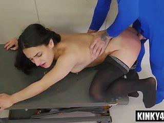 Brunette amateur spanking and facial