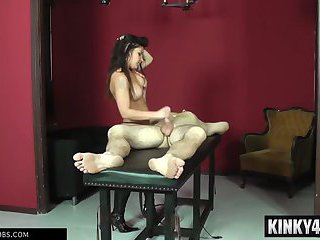 Hot mistress femdom handjob and cumshot