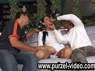 Birthday girls first gangbang wih all friends by birtday purzel party.