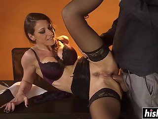 Ava Courcelles wears stockings while slamming