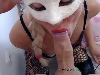 POV anal blowjob  facefuck milf blonde