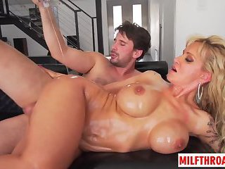Big tits milf blowjob and facial