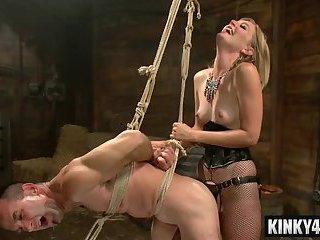 Hot slave bdsm bondage with cumshot