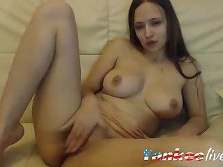 Webcam brunette with big hot boobs masturbating her warm pussy