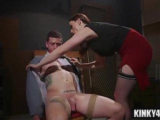 Hot pornstar femdom humiliation with cumshot