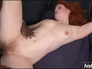 Redhead with small tits loves BBC