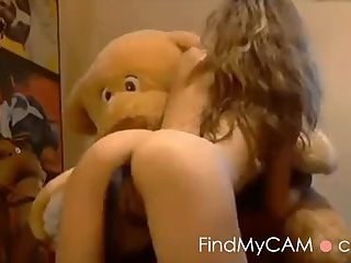 Horny girl has sex with her stuffed toy