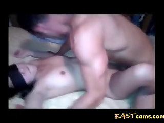 Blindfolded Asian with a shaved soft mound gets fucked