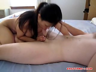 Asian lady licks and sucks a dick clean