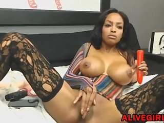 Stunning ebony Ravenxxx_ with huge boobs masturbates and squirts at ALIVEGIRL com