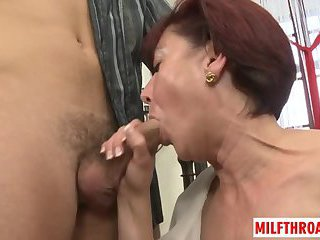 Small tits milf oral with cum on face