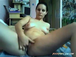 Webcam brunette babe teasing and fingering her wet horny pussy