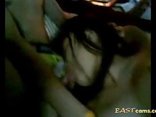 Real Asian threesome sex while watching porn
