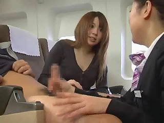 Japanese stewardess handjob censored