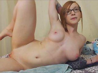 Hot Cam Girl in Glasses Fucks Herself