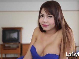 Thai ladyboy rides cock in POV