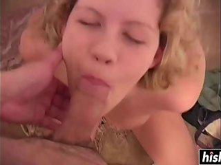 Blonde hottie sucks dick in POV