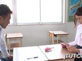 Teacher's mouth jizzed