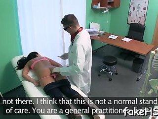 Sexy doctor cums inside fake hospital