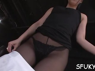 Hot chick pussy pounding action