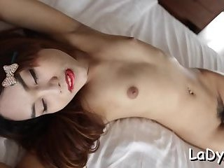 Shemale slut gets anal poked