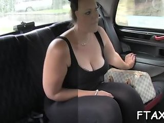 Wild orgasms inside fake taxi