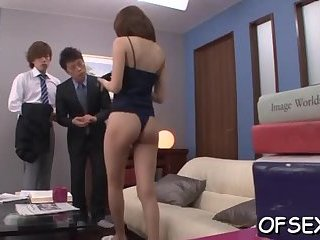 Office slut sits on cock