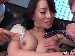 Delightful Asian tits stroking